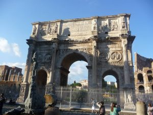 The arch of Constantine outside of the Colosseum