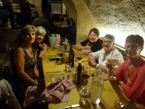 Some of us having dinner in Rome at Osteria del Circo