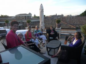 Our last drink on the rooftop terrace of Hotel 47